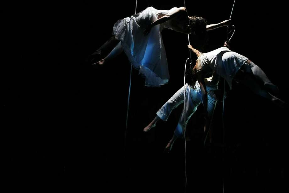 """Vertical dance company Bandaloop's latest show, """"Harboring,"""" takes inspiration from Fort Mason's past and present. Photo: Rohan Smith, The Chronicle"""