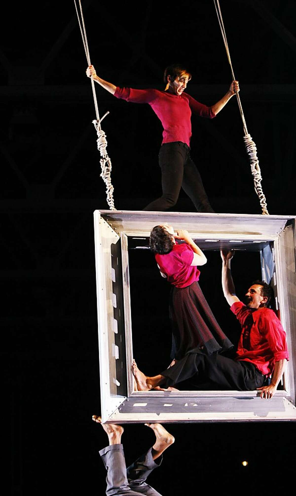 """The dress rehearsal of Bay Area vertical dance company's World Premiere of """"Harboring"""" at the Festival Pavilion on Wednesday, July 17, 2013 in San Francisco, Calif."""