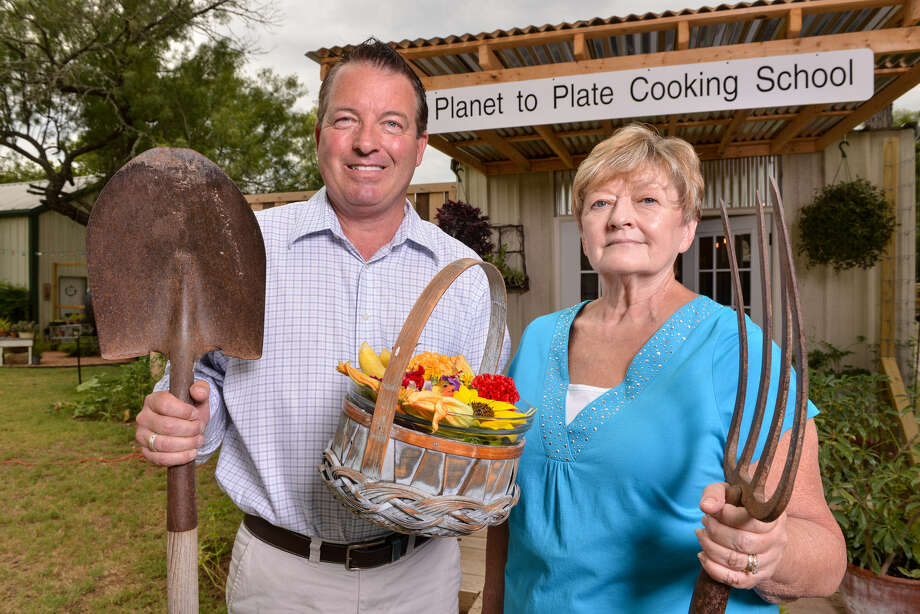 Bill Varney and Terry Thompson-Anderson started Planet to Plate Cooking School in April. Classes are held in a small building on Varney's URBANherbal complex in Fredericksburg. Photo: Photos By Robin Jerstad / For The Express-News