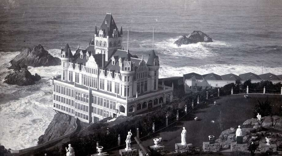Adolph Sutro's Cliff House, a seven-story Victorian, lasted from 1896 to 1907, when it was destroyed by fire.