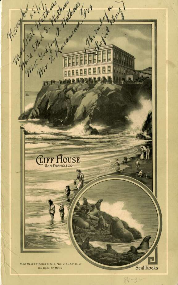 A 1917 menu from the Cliff House Restaurant.