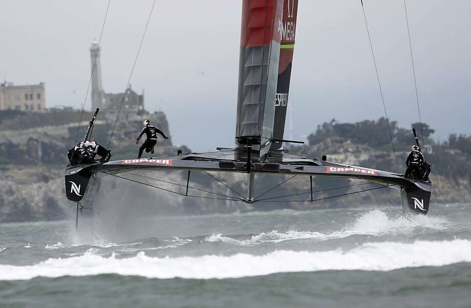 Emirates Team New Zealand sails alone for a point in a Louis Vuitton Cup round-robin race with Sweden's Artemis still recrafting its vessel after a capsize and hoping to return to the water for practice by Tuesday. Photo: Ian C. Bates, The Chronicle