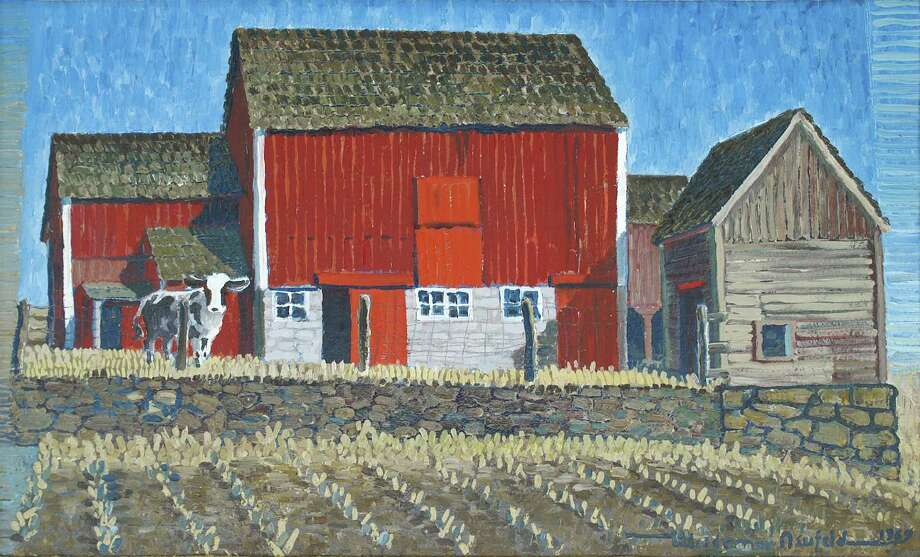 """Barn with Heifer,"" an oil painting by Woldemar Neufeld, will be part of ""Barns and Farms,"" a new exhibit in New Milford. Photo: Contributed Photo"
