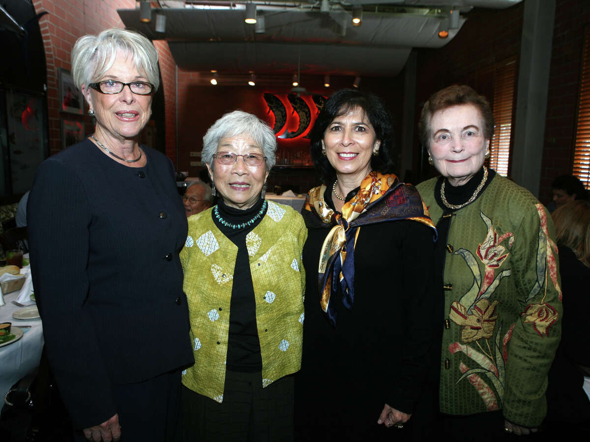 Bonnie Conner (fromer Vice-Chair Park Projects for Parks Foundation), Mabel Jingu Enkoji (Former Tea Garden Resident), Evangelina Flores (Board Chair Parks Foundation) and Lila Cockrell (Pres Parks Foundation) were at the reception/luncheon for Mabel Jingu on 10/12/2009 at Water Street Oyster Bar.