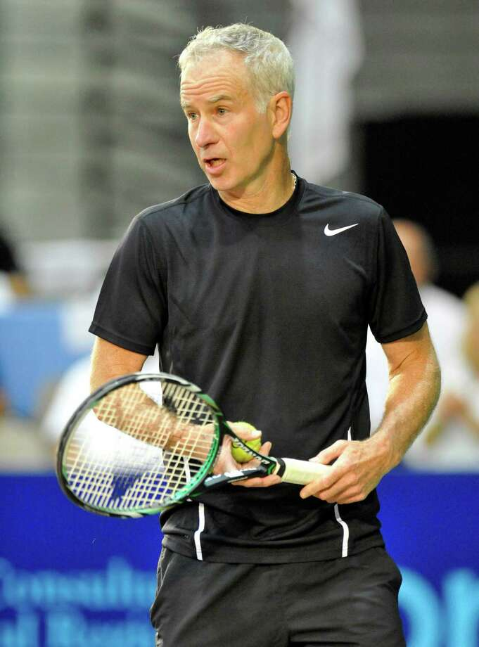 John McEnroe of the New York Sportimes comments to the fans while playing against the Orange County Breakers in a World Team Tennis match at SEFCU Arena in Albany, N.Y., Thursday, July 18, 2013. (Hans Pennink / Special to the Times Union) ORG XMIT: HP107 Photo: Hans Pennink / Hans Pennink