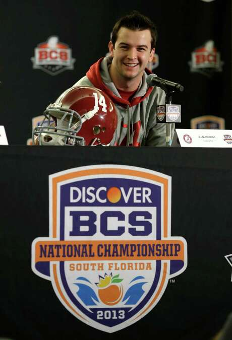 Alabama quarterback AJ McCarron smiles as he speaks during a news conference, Thursday, Jan. 3, 2013 in Fort Lauderdale, Fla. Alabama will play Notre Dame on Jan. 7 in the NCAA college football BCS Championship game. (AP Photo/Wilfredo Lee) Photo: Wilfredo Lee, STF / AP