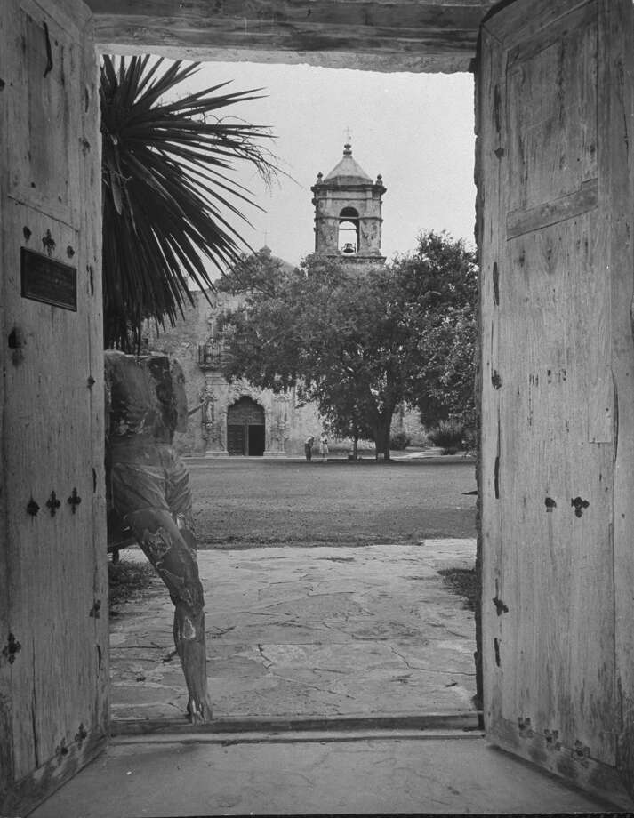 Mission San José, restored, used as church and historic site, showing a stone bell tower on Oct. 1, 1946. Photo: Cornell Capa, Time & Life Pictures / Getty Images / Time Life Pictures