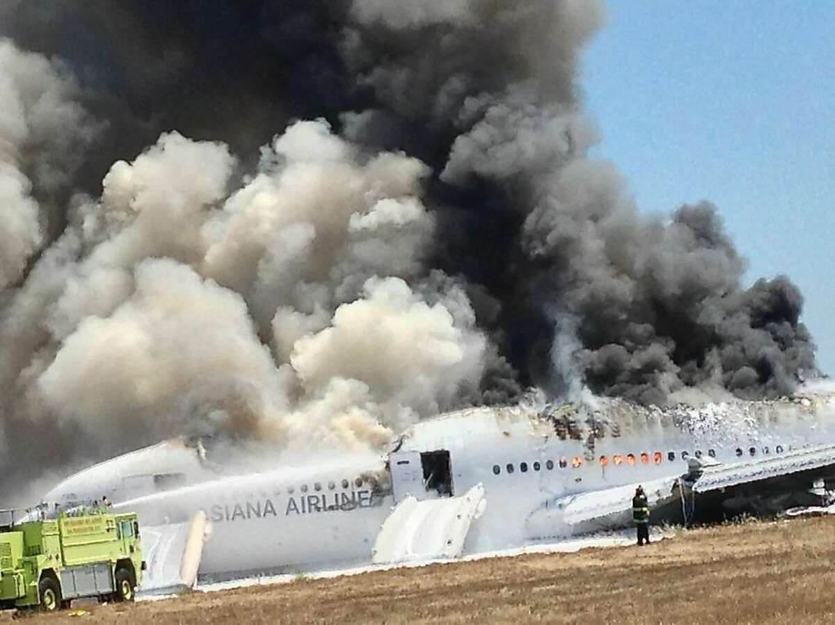 Photo taken by Asiana Flight 214 passenger Eugene Anthony Rah show the immediate aftermath of the crash at SFO on July 6, 2013 in San Francisco California.