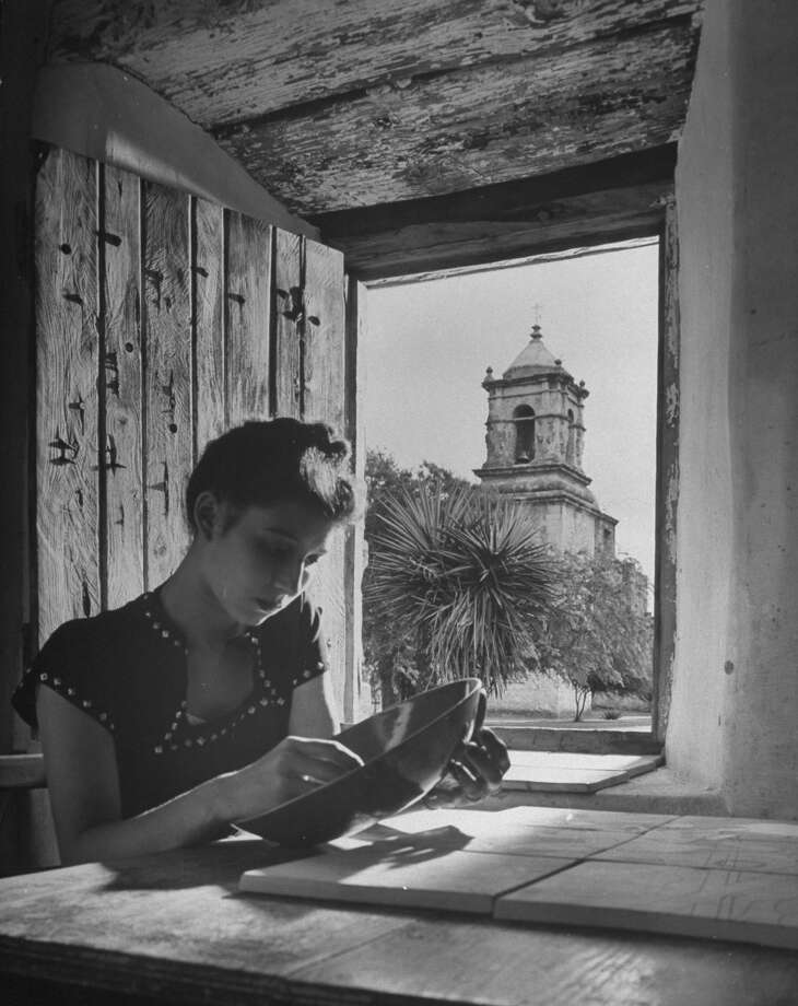 Mission San José, restored, used as church and historic site, showing bell tower through window opening on Oct. 1, 1946. Photo: Cornell Capa, Time & Life Pictures / Getty Images / Time Life Pictures