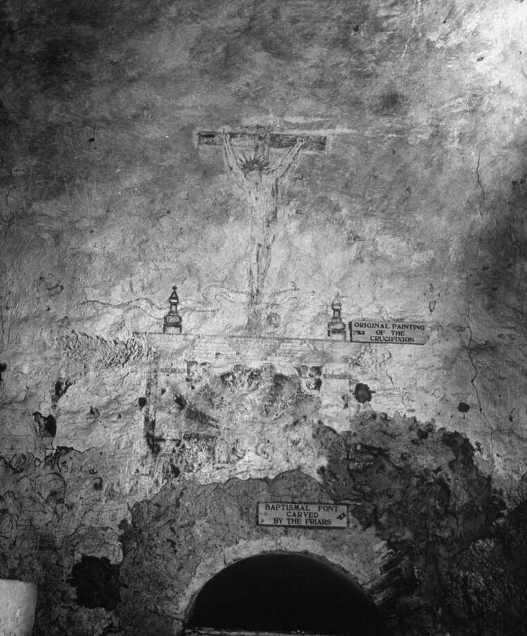 Original painting of the crucifixion on wall of baptistry in Mission Concepción on Dec. 31, 1944. Photo: Alfred Eisenstaedt, Time & Life Pictures / Getty Images / Time & Life Pictures/Getty Images