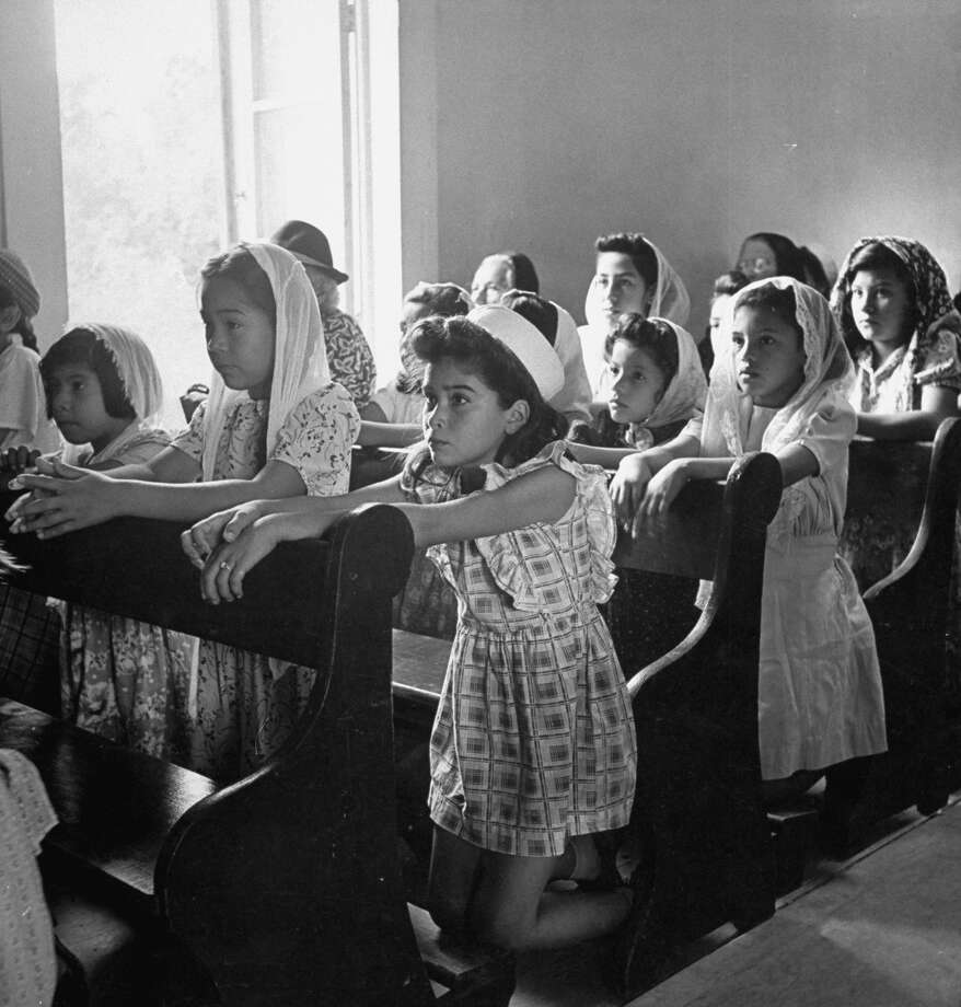Children at morning Mass in chapel of Mission San Juan on Dec. 31, 1944. Photo: Alfred Eisenstaedt, Time & Life Pictures / Getty Images / Time & Life Pictures/Getty Images