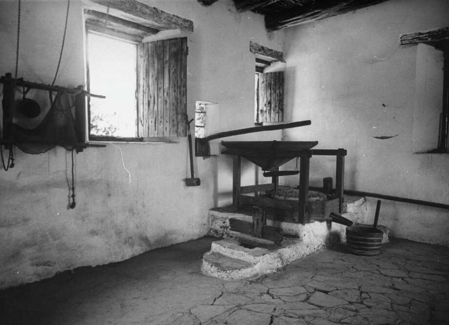 Interior of restored mill at Mission San José. San José mill was the first in Texas dating from 1720s on Dec. 31, 1944. Photo: Alfred Eisenstaedt, Time & Life Pictures / Getty Images / Time & Life Pictures/Getty Images