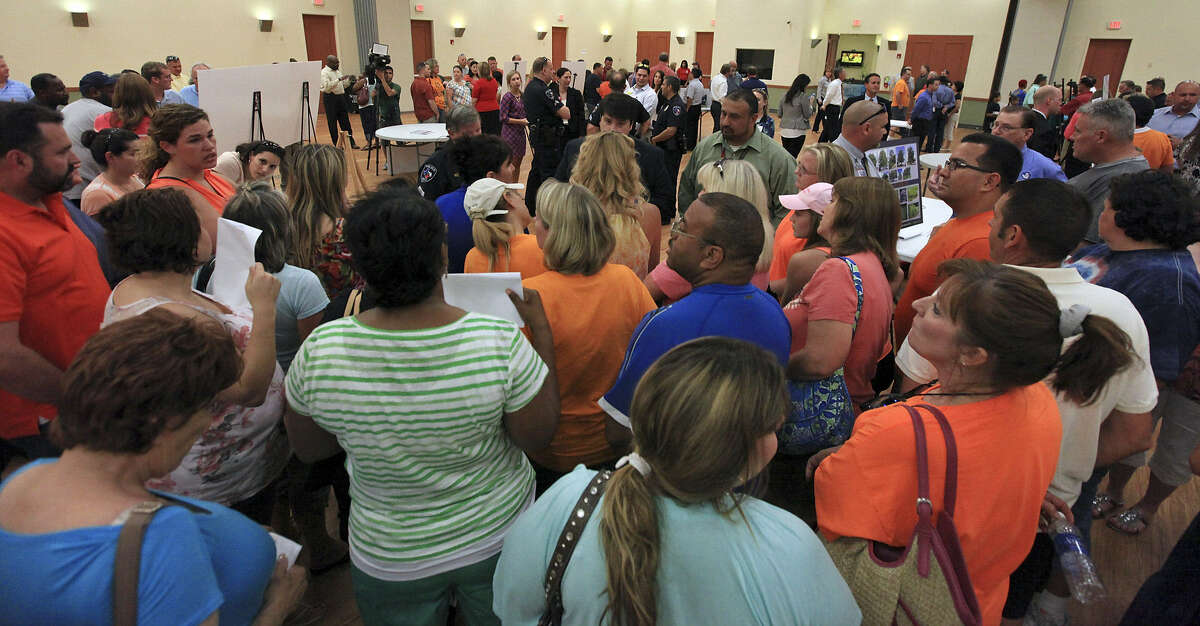 Cibolo residents pack the Schertz Civic Center to discuss the proposed store.