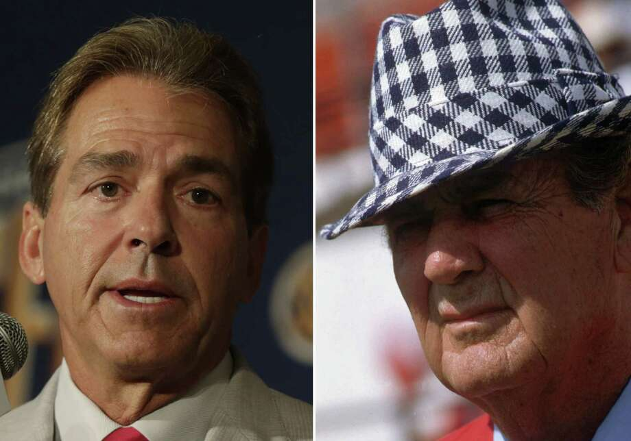 """In this combo of photos shows, Alabama coach Paul """"Bear"""" Bryant, right, pictured prior to game against Wichita State in an Oct. 6, 1979 file photo,  in Tuscaloosa, Ala., and Alabama coach Nick Saban, left, speaking to reporters at the Southeastern Conference football media days in Hoover, Ala., on Thursday, July 18, 2013.  Saban isn't interested in comparisons to Bryant.  He says he sees no reason """"anybody should do that. I think Bear Bryant is probably the greatest coach ever in college football,"""" citing Bryant's accomplishments and consistency over a long period of time. Bryant led the Tide to six national titles. (AP Photo/Dave Martin, left, Joe Holloway Jr., right) Photo: Joe Holloway Jr., Right, Dave Ma, STF / AP"""