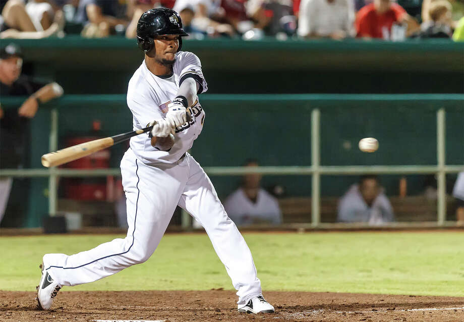 Jeudy Valdez of the Missions swings at a pitch during the eighth inning of their game with the Midland Rockhounds at Wolff Stadium on Thursday, July 18, 2013.  Midland won the game 3-1.  MARVIN PFEIFFER/ mpfeiffer@express-news.net Photo: Marvin Pfeiffer, San Antonio Express-News / Express-News 2013