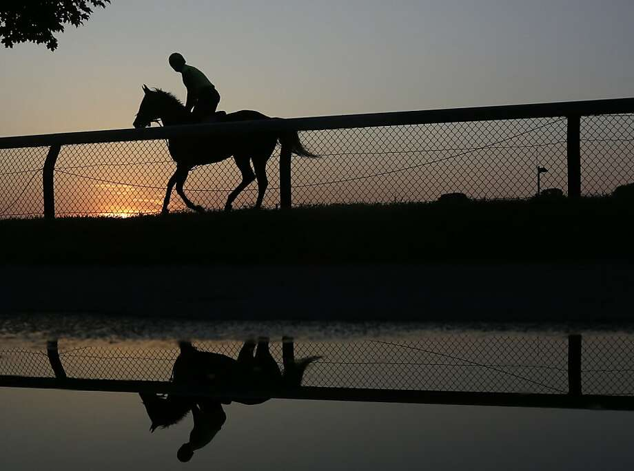 An exercise rider rides a horse during morning workouts at Saratoga Race Course early Thursday, July 18, 2013, in Saratoga Springs, N.Y. The 150th horse racing meet at Saratoga opens on Friday. (AP Photo/Mike Groll) Photo: Mike Groll, Associated Press