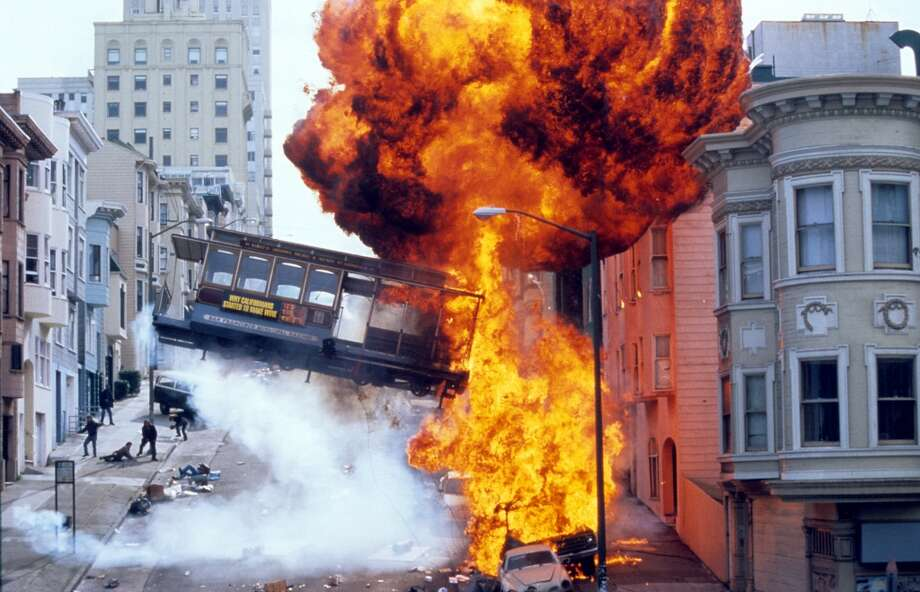 An explosion in a scene from the film 'The Rock', 1996. Photo: Hulton Archive, Getty Images