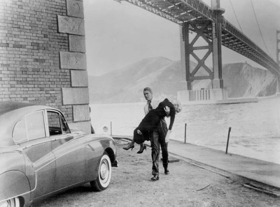 James Stewart and Kim Novak in 'Vertigo.' The movie was filmed all over S.F., including the Legion of Honor, Mission Dolores and Fort Point. Photo: Paramount Pictures