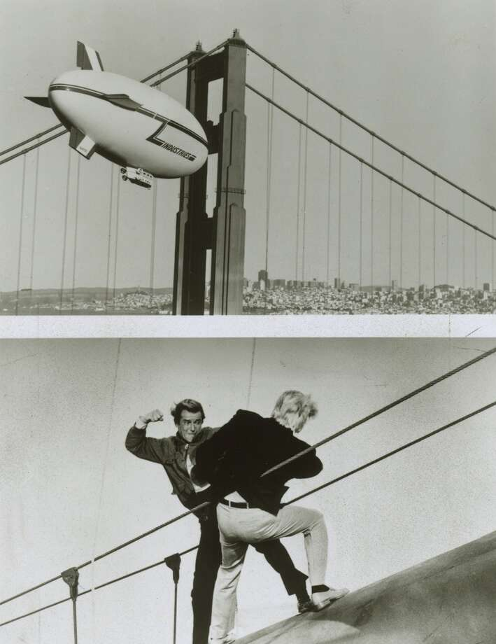 Zorin's airship approaches the Golden Gate Bridge in the James Bond film 'A View to a Kill.' And then James Bond (Roger Moore) and Max Zorin (Christopher Walken) fight. On the bridge. Photo: MGM, The Chronicle, File