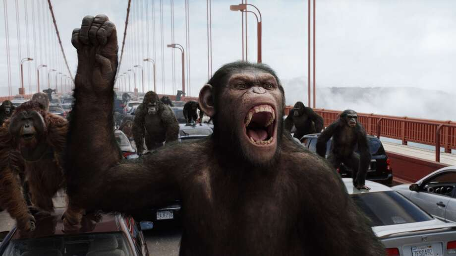 "2011: Caesar leads a revolution that will ultimately lead to the ""Rise of the Planet of the Apes."" And he does it on the Golden Gate Bridge.  Photo: WETA Digital, 20th Century Fox"