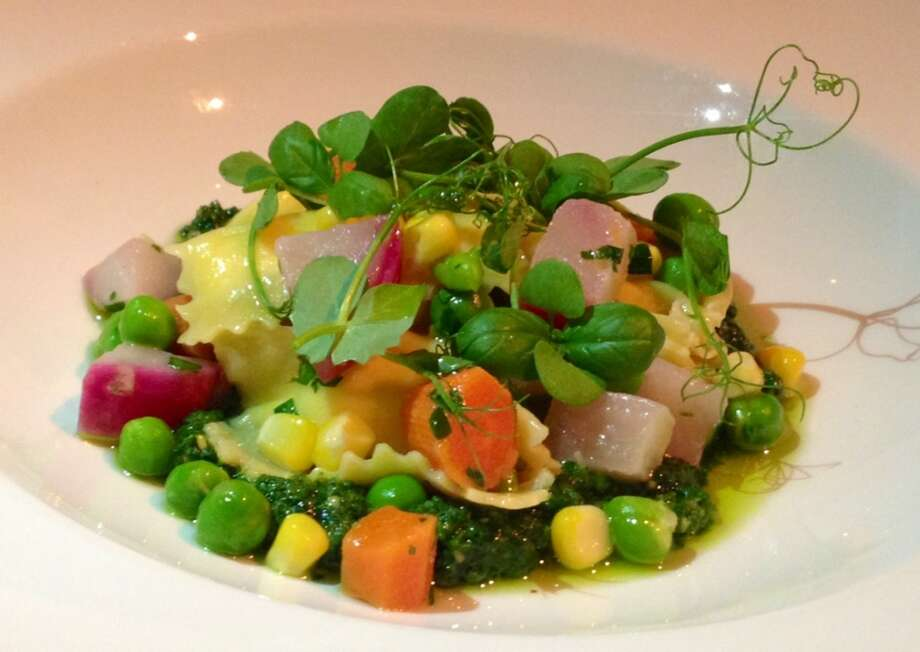 Agnolotti with summer vegetables at Poggio in Sausalito