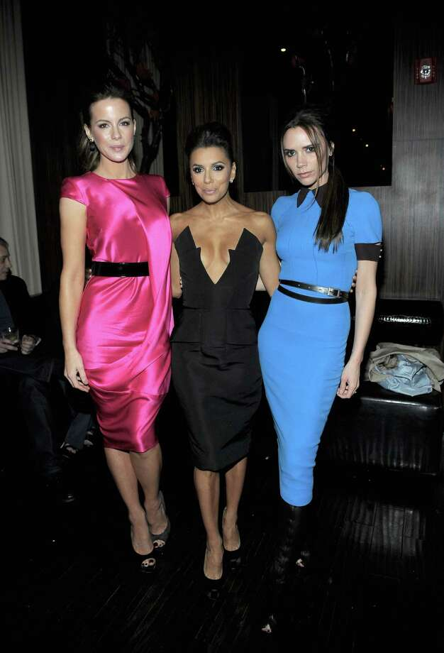 HOLLYWOOD, CA - FEBRUARY 23:  (L-R) Actresses Kate Beckinsale, Eva Longoria and designer Victoria Beckham attend the Vanity Fair and Chrysler celebration of The Eva Longoria Foundation hosted by Eva Longoria on Thursday, February 23 at Beso Hollywood. Photo: Charley Gallay, Getty Images For VF / 2012 Getty Images