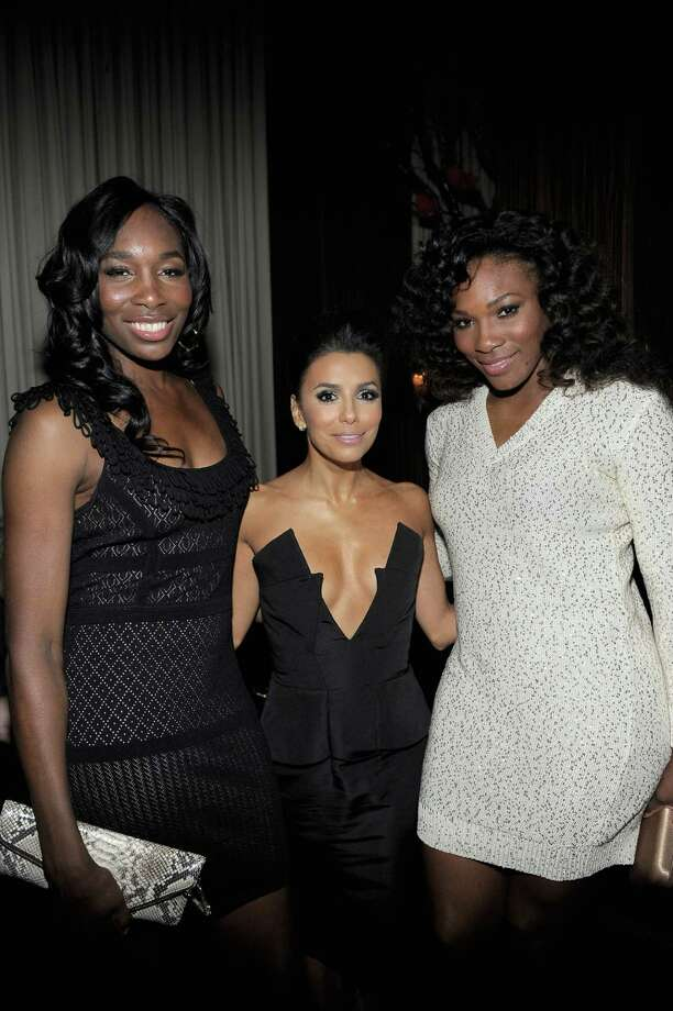HOLLYWOOD, CA - FEBRUARY 23:  Professional tennis players Venus Williams (L), Serena Williams and Actress Eva Longoria (C) attend the Vanity Fair and Chrysler celebration of The Eva Longoria Foundation hosted by Eva Longoria on Thursday, February 23 at Beso Hollywood. Photo: Charley Gallay, Getty Images For VF / 2012 Getty Images