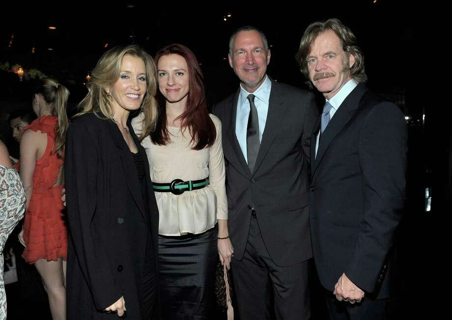 HOLLYWOOD, CA - FEBRUARY 23:  (L-R) Actress Felicity Huffman, Jennifer Zuccarini, Vanity Fair Publisher Edward Menicheschi and William H. Macy attend the Vanity Fair and Chrysler celebration of The Eva Longoria Foundation hosted by Eva Longoria on Thursday, February 23 at Beso Hollywood. Photo: Charley Gallay, Getty Images For VF / 2012 Getty Images