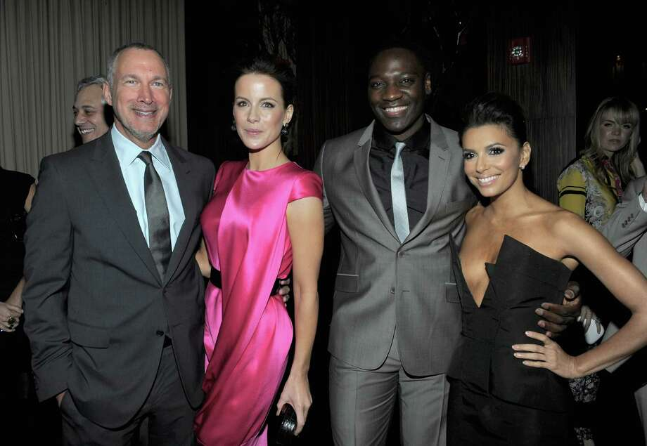 HOLLYWOOD, CA - FEBRUARY 23: (L-R) Vanity Fair Publisher Edward Menicheschi, actors Kate Beckinsale Adewale Akinnuoye-Agbaje and Eva Longoria attend the Vanity Fair and Chrysler celebration of The Eva Longoria Foundation hosted by Eva Longoria on Thursday, February 23 at Beso Hollywood. Photo: Charley Gallay, Getty Images For VF / 2012 Getty Images