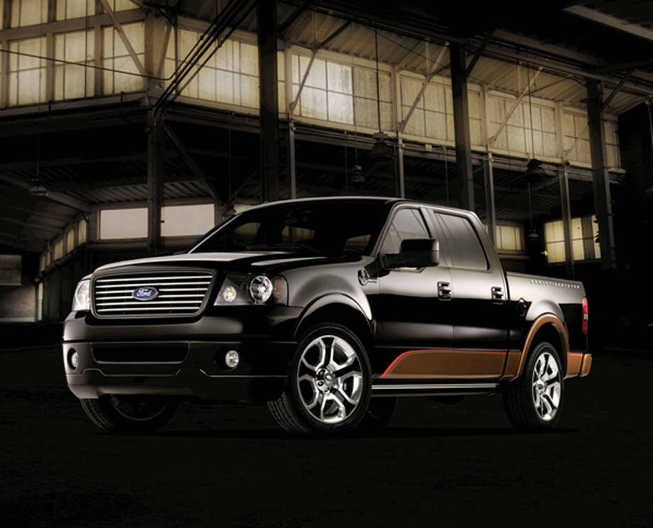 The new, anniversary-edition 2008 Ford Harley-Davidson F-150 is the most powerful Ford truck ever as it races onto streets with a supercharged, 450-horsepower V-8 engine to help celebrate the famed automotive and motorcycle companies' 105th anniversaries. (07/31/07) Photo: Ford, Wieck / © 2007 Ford Motor Company