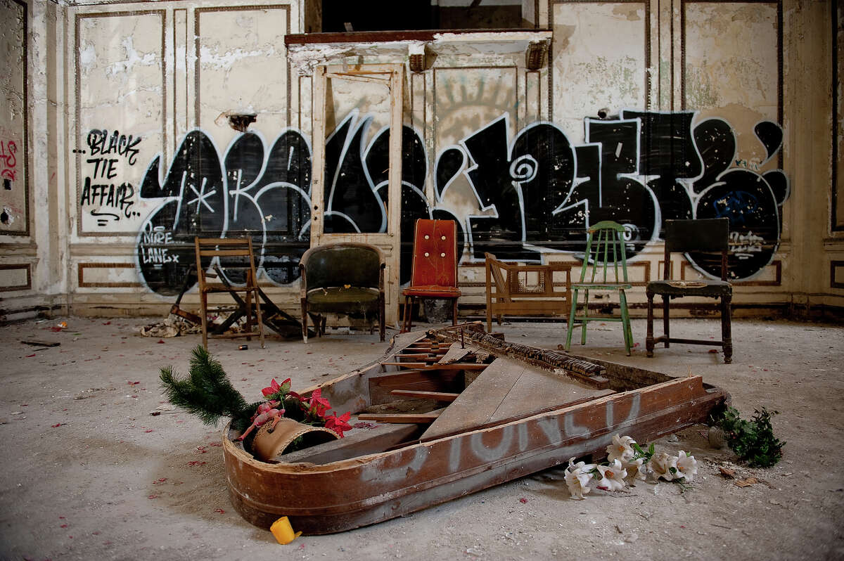 A piano frame lies on the floor of Lee Plaza, an upscale apartment and hotel building opened in 1929 on West Grand Boulevard on May 2, 2013 in Detroit, Michigan. The building was added to the National Register of Historic Places in the 1980s before closing in the 1990s.