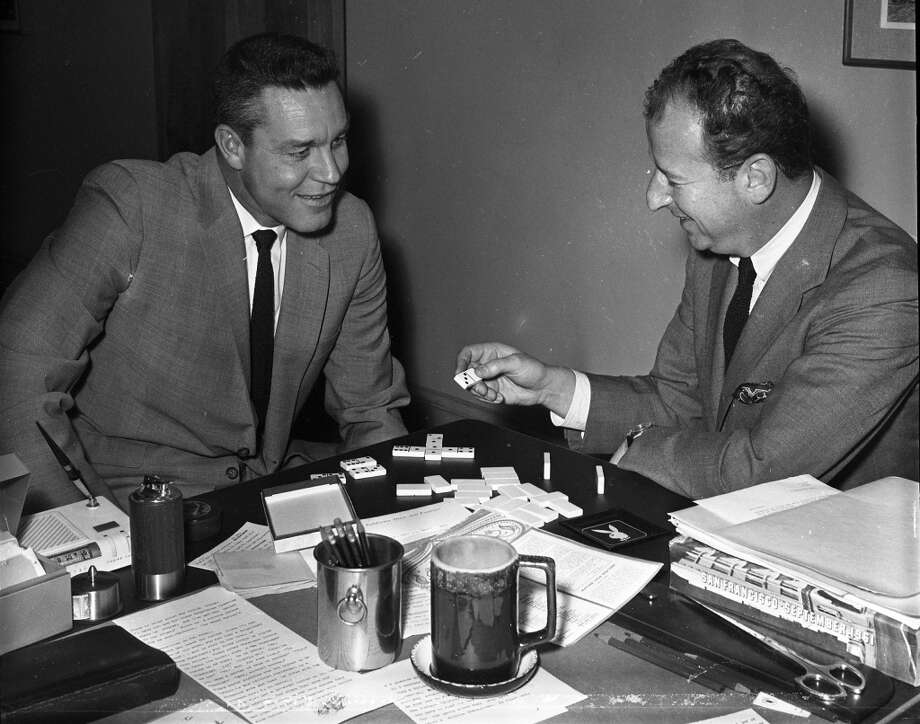 Lon Simmons and Herb Caen play dominos. April 20, 1962.