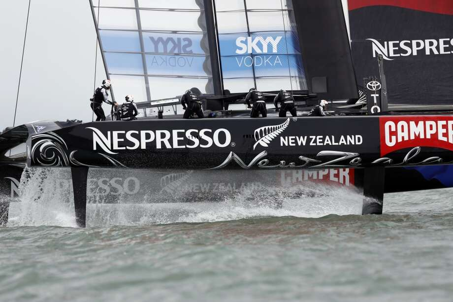 The Emirates Team New Zealand sail during a solo race against Artemis for the Louis Vuitton Cup in San Francisco, Calif. on July 18, 2013.