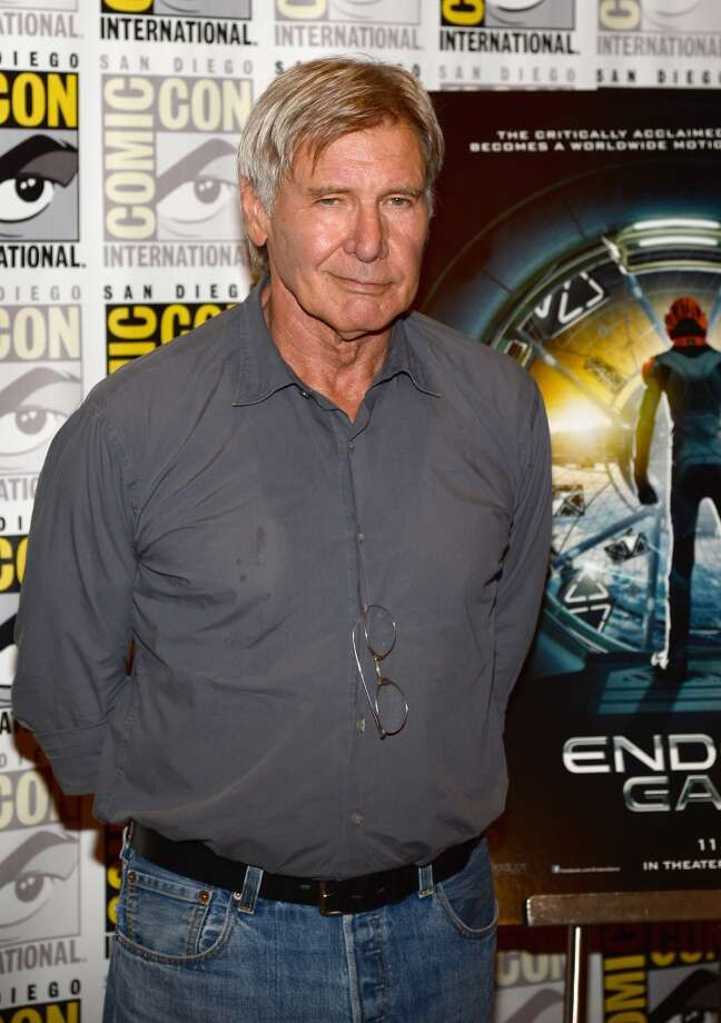"Actor Harrison Ford attends ""Ender's Game"" and ""Divergent"" Press Line during Comic-Con International 2013 at Hilton San Diego Bayfront Hotel on July 18, 2013 in San Diego, California.  (Photo by Ethan Miller/Getty Images)"