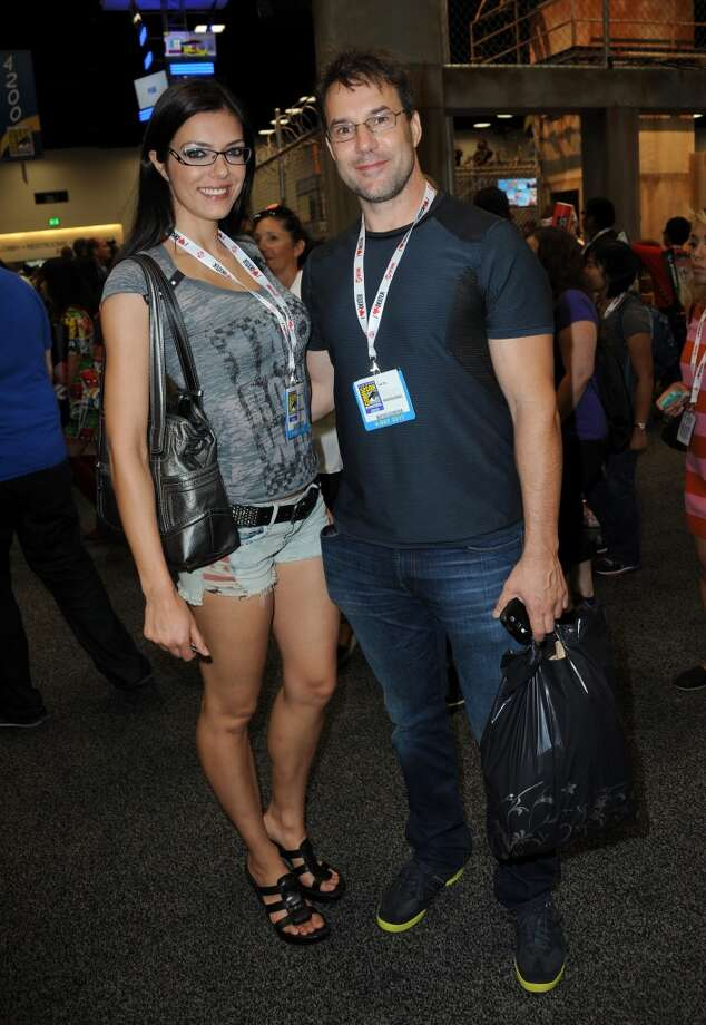 Adrianne Curry and Todd Roy attend Comic-Con International at San Diego Convention Center on July 18, 2013 in San Diego, California.  (Photo by Albert L. Ortega/Getty Images)