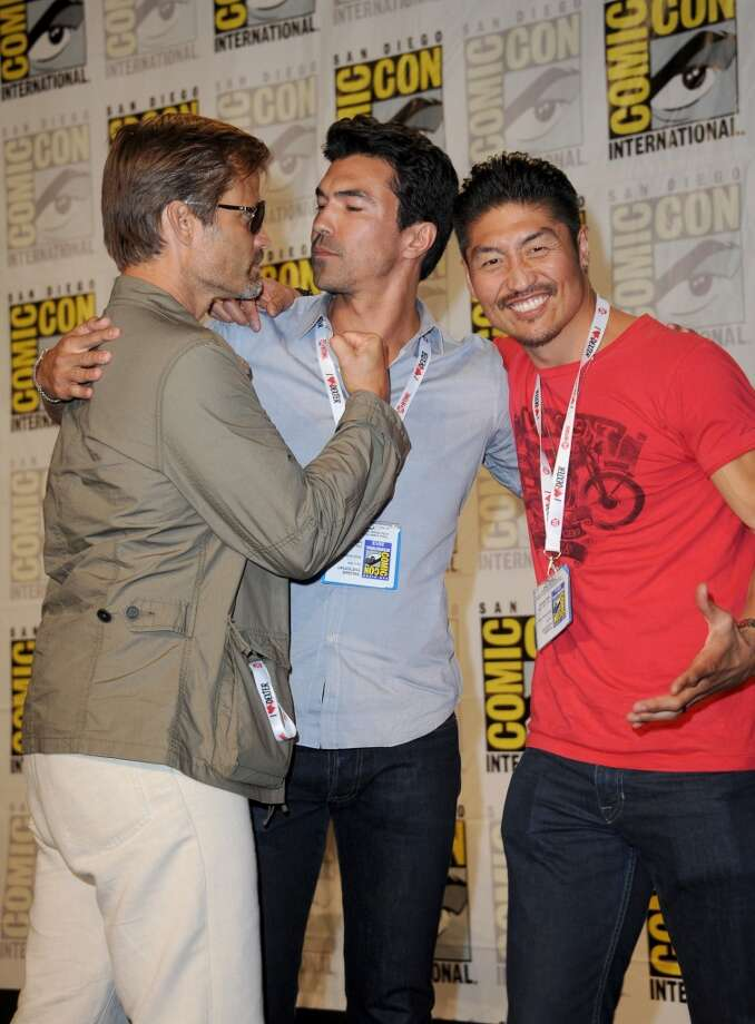 "Actors Casper Van Dien, Ian Anthony Dale and Brian Tee attend the ""Mortal Kombat: Legacy"" Season 2 panel during Comic-Con International 2013 at San Diego Convention Center on July 18, 2013 in San Diego, California.  (Photo by Albert L. Ortega/Getty Images)"