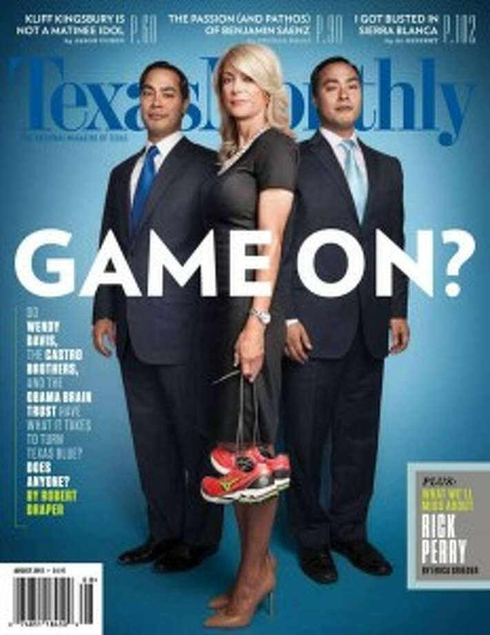 In this August 2013 cover of Texas Monthly magazine, Davis is featured with fellow Harvard graduates San Antonio Mayor Julián Castro (left) and U.S. Rep. Joaquín Castro.
