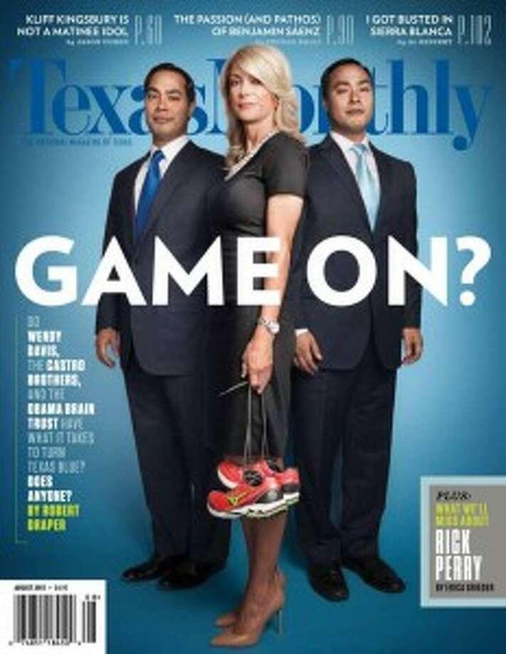In this August 2013 cover of Texas Monthly magazine, Davis is featured with fellow Harvard graduates San Antonio Mayor Julián Castro (left) and U.S. Rep. Joaquín Castro.