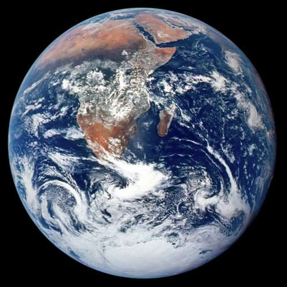 The first blue marble image, taken by the Apollo 17 crew from an altitude of 45,000 km.