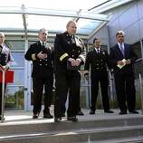 Fire Chief Joanne Hayes-White (center) and staff with San Mateo County Coroner Robert Foucrault (right) at news conference.
