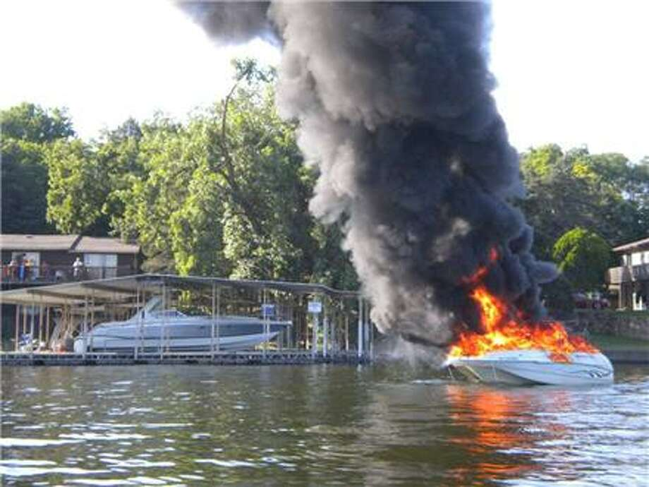 The 1999 Starcraft boat was severely damaged by the explosion and fire. Photo: CRCG Channel 13