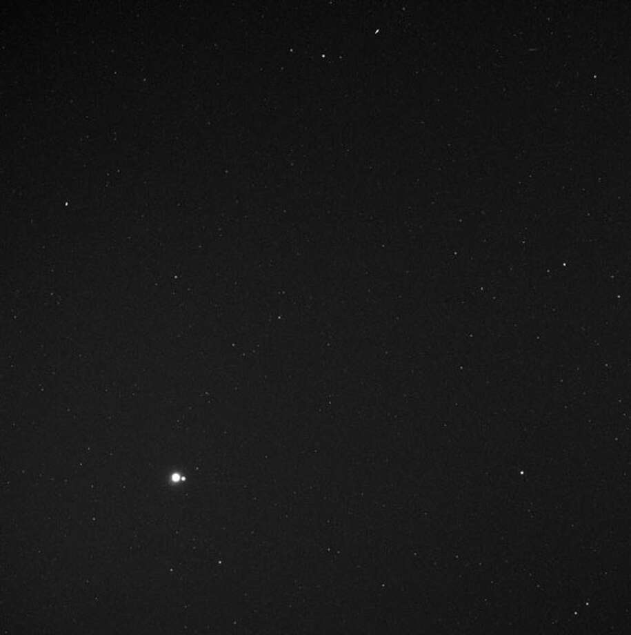 The view of Earth from MESSENGER, in orbit around Mercury, from a distance of 183 million km.