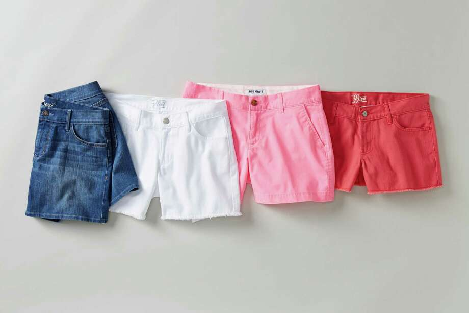 This product image released by Old Navy shows a variety of denim shorts. Many stores are recognizing that shoppers like to purchase their summer clothing when the weather is warm enough for them to wear it. That translates to a later, more gradual rollout of summer clothing as well as staggered and later-than-usual sales. (AP Photo/Old Navy) ORG XMIT: NYET135 / Old Navy
