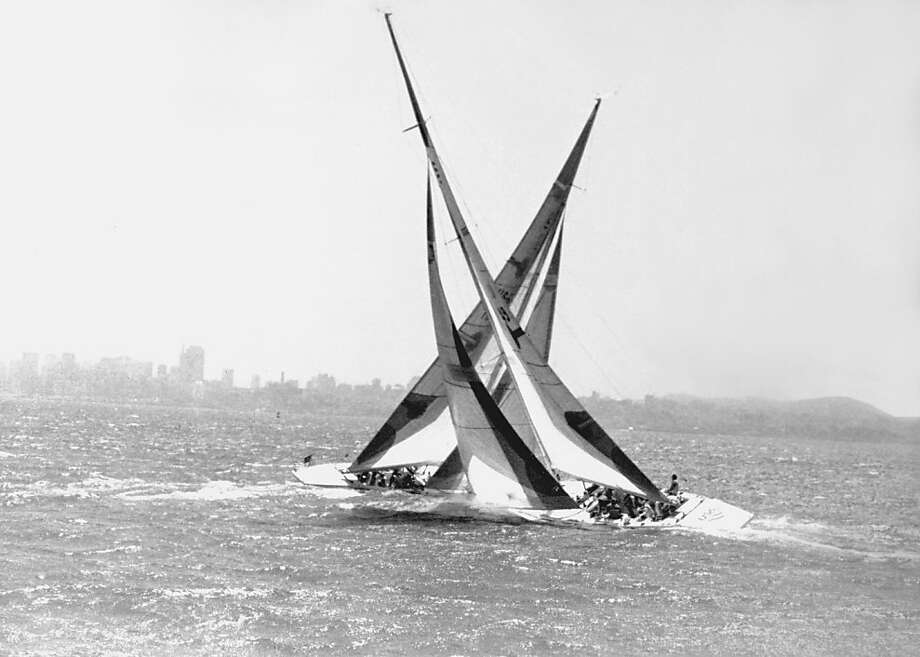 Paul Cayard and Tom Blackaller met in San Francisco Bay in 1986 to test their 12-meter boats. Photo: Brian Murphy