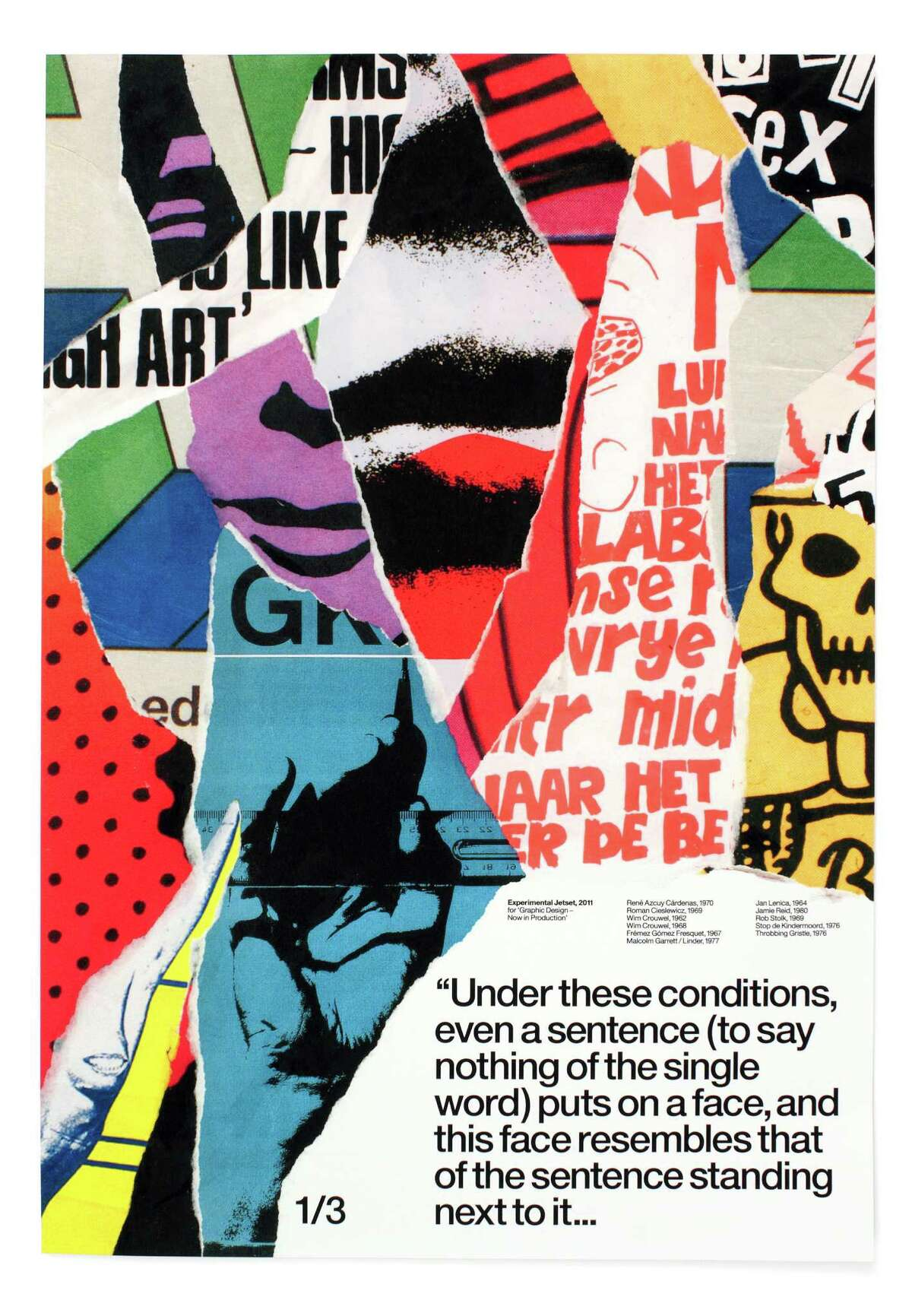 """A detail of Experimental Jetset's """"Statement and Counter-Statement."""" The large, backlit sign, is composed of three collaged posters that pay tribute to other designers."""