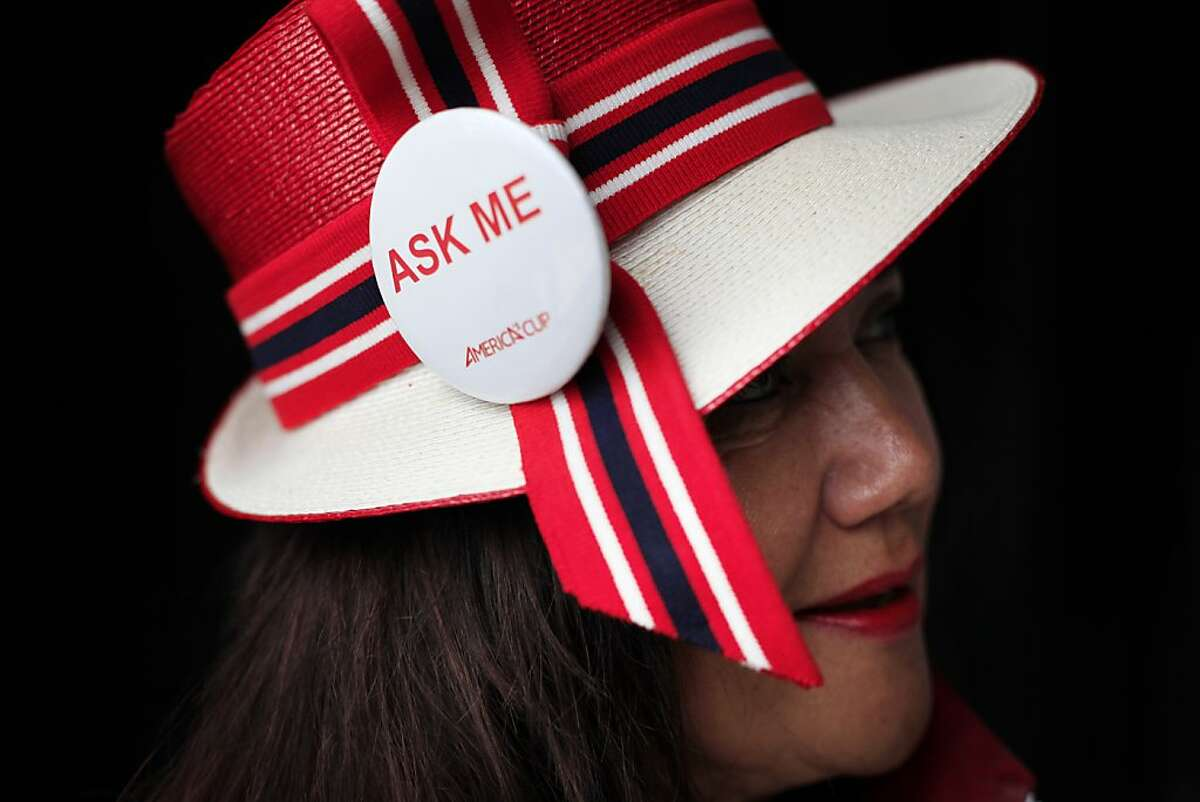 America's Cup Event Ambassador LaLa Hill-Courtney dons a hat she created for the racing event in San Francisco, Calif.