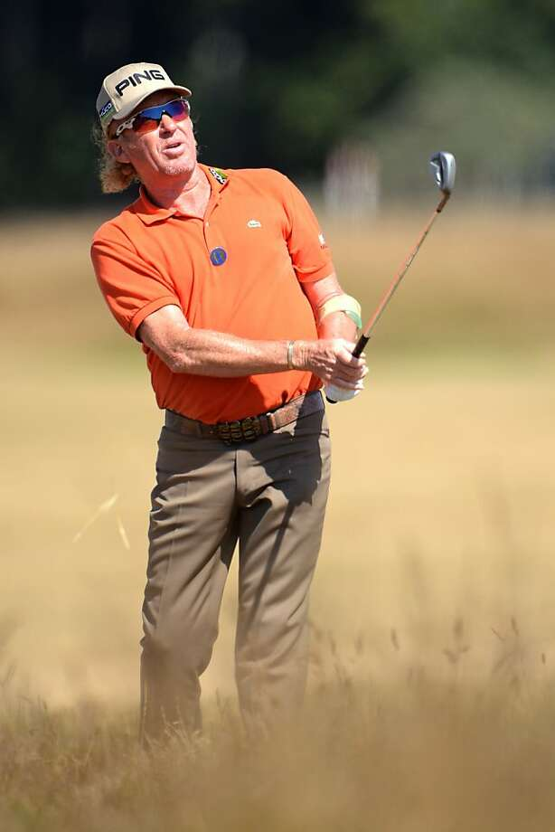 Miguel Angel Jimenez managed to shoot even-par 71, leaving him at 3-under for two rounds. Photo: Stuart Franklin, Getty Images