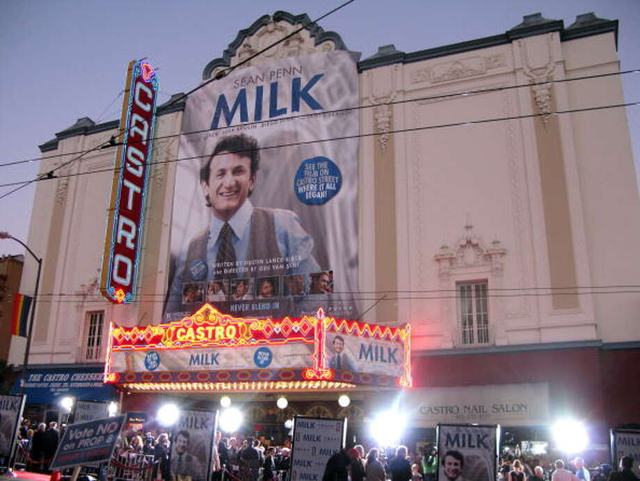 "Theater goers gather outside the Castro Theater for the premiere of ""Milk,"" staring Sean Penn and Josh Brolin, in San Francisco, California, U.S., on Tuesday, Oct. 28, 2008. Josh Brolin had a tough time getting into the role of Dan White, the man who killed gay San Francisco Supervisor Harvey Milk, played by Penn.  (Photo by Tara Zorovich/Bloomberg via Getty Images) Photo: Bloomberg, Bloomberg Via Getty Images / Bloomberg"
