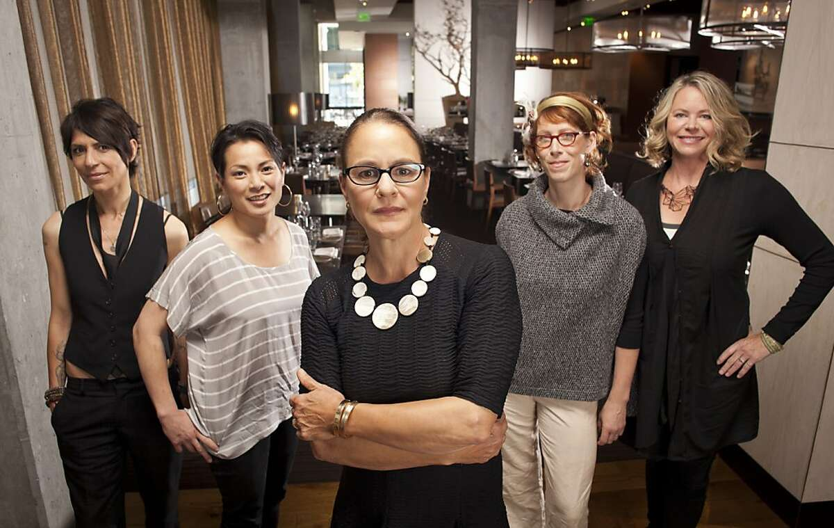 Dominique Crenn of Atelier Crenn, left, Belinda Leong of b. Patisserie, Pam Mazzola of Prospect, Nicole Krasinski of State Bird + Provisions, and Gayle Pirie of Foreign Cinema are seen on Friday, July 19, 2013 at Prospect where they will participate in the Masters of Their Craft: Celebrating the Great Female Chefs and Sommeliers of San Francisco dinner on Sunday, July 28th as part of SF Chefs. Hair and Makeup: Erika Taniguchi - beautybyerika.com Hair and Makeup assistant: Sonja Tam - sonjatam.com