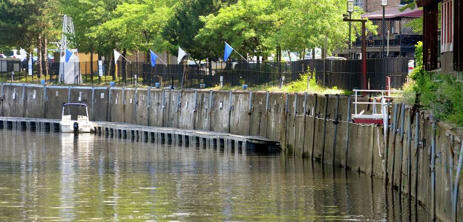 The deteriorating seawall along the Hudson River on Wednesday, July 17, 2013, in Troy, N.Y. (Cindy Schultz / Times Union) Photo: Cindy Schultz / 00023191A